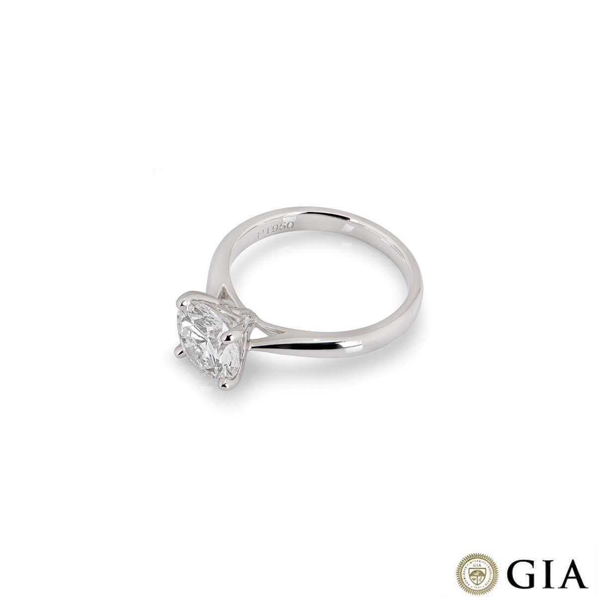 Platinum Round Brilliant Cut Diamond Ring 2.03ct E/VS2